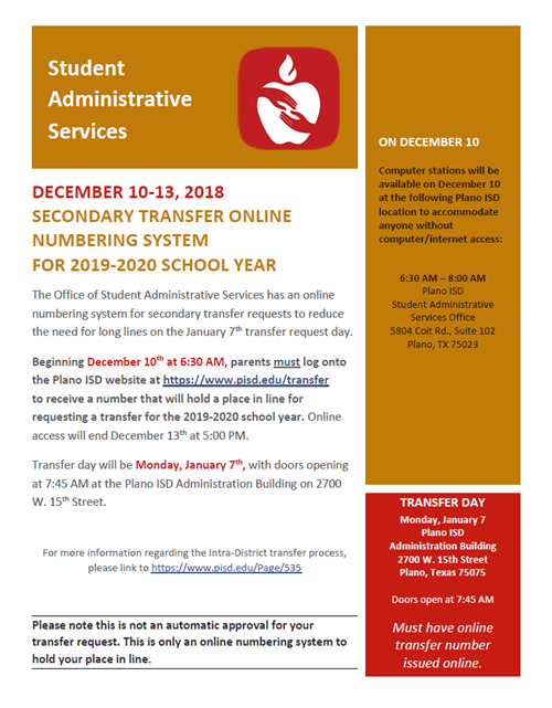 Transfer Requests for 2019-2020 School Year