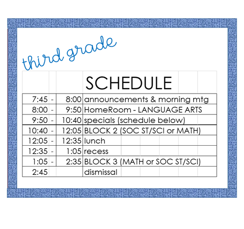 3rd grade daily schedule