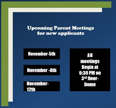 Upcoming Parent meetings for New Applicants to Academy HS