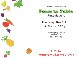 Panelists Needed for Farm to Table