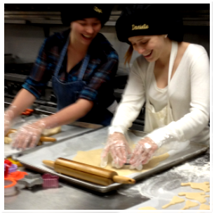Students preparing pastries