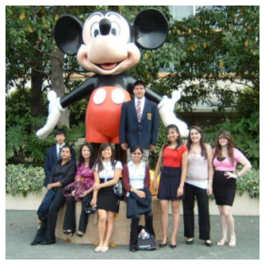Students in front of Mickey Mouse statue