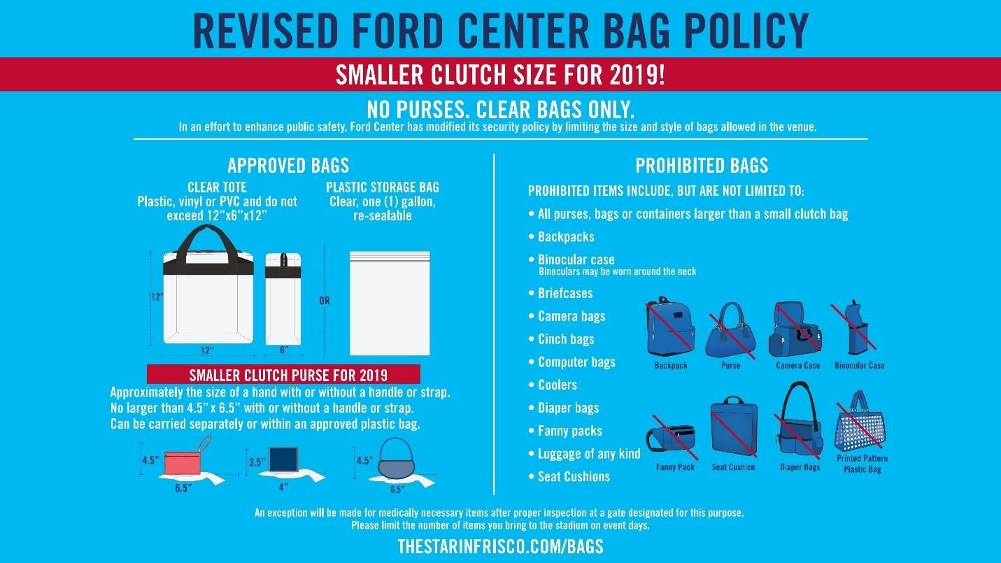 Ford Center at The Star bag policy graphic