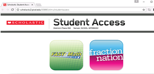 Fraction Nation Student Access screen