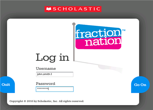 fraction nation login screen