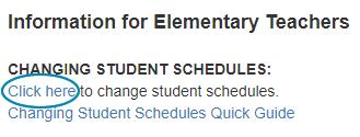 Changing Student Schedule link on message board image