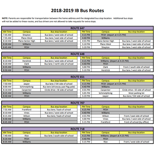About The Ib World School Transportation Schedule