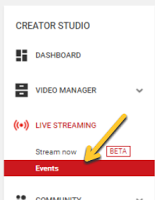 arrow pointing to events under live streaming