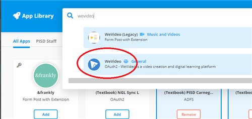 adding wevideo in webdesk app library
