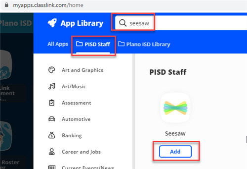 seesaw pisd staff library