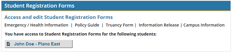 Student Registration Forms Parent Portal screenshot.
