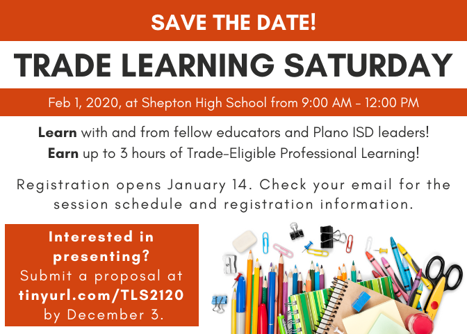 Save the date! Trade Learning Saturday, Feb 1 at Shepton High School