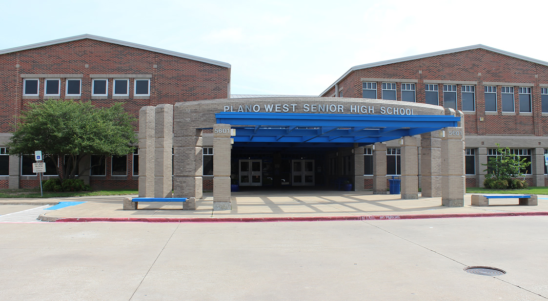 Plano West Senior High School front entrance