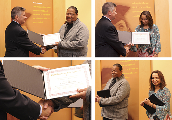 photo collage of Robert Krause and Jayshree Panchal receiving certificates from Board VP David Stolle.