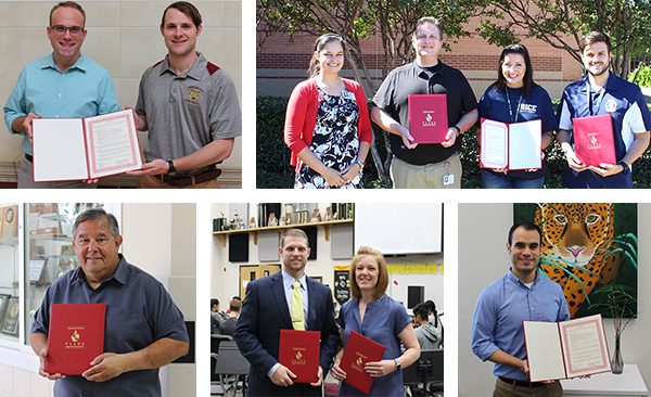 photos of Band, Choir and Orchestra Directors who have received Board of Trustee recognition regarding their Mark of Excellence Award