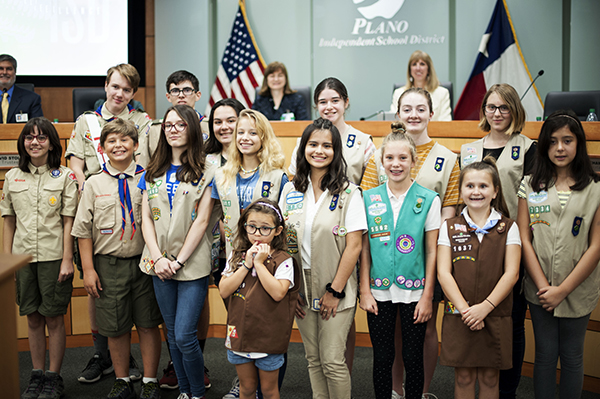 large group of scouts in board room