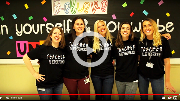 Link to video-5 teachers wearing TEACHER I'll be there for you T-shirts