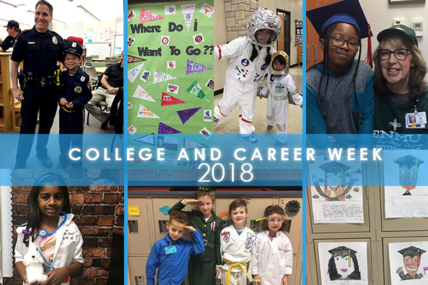 Collage of photos of college and career week activities