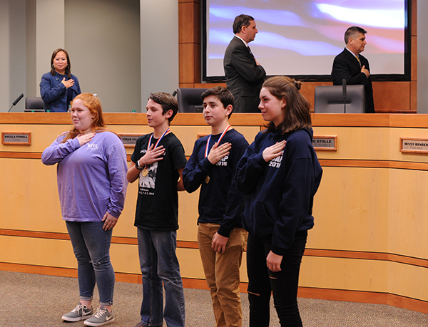 Photos of students saying The Pledge