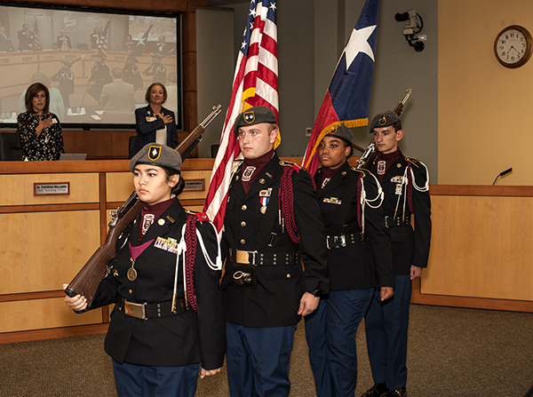 PSHS Wildcat Battalion color guard with flags
