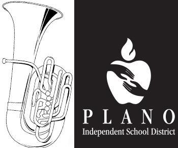 brass musical instrument and PISD logo