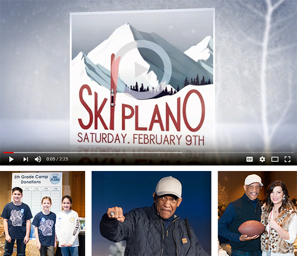 Link to video and three photos from event. 5th grade camp donations, Drew Pearson with Superbowl ring, Drew Pearson and event chair