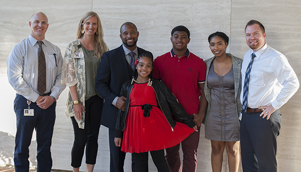 Derrian McKinney, 2 daughters, son and principals