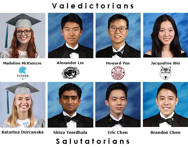 photos of 4 valedictorians and 4 salutatorians
