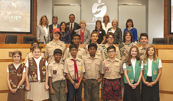 Boy and Girl Scouts with Board of Trustees
