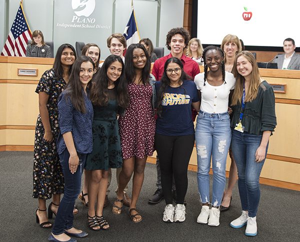Superintendent's Student Advisory Group at Board Meeting
