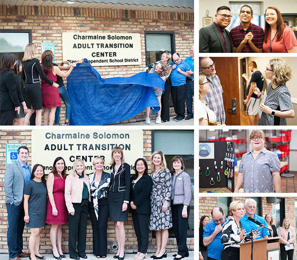 Collage of district and City Leaders unveiling sign with students  and smaller photos of staff and students